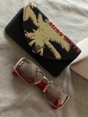 MISS SIXTY, Sonnenbrille, rot-pink-silber, leicht verspiegelt, stylisch-Jugendlich im Original Miss Sixty Brillenetui