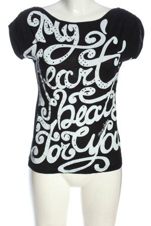 Miss Sixty T-shirt noir-blanc lettrage imprimé style décontracté