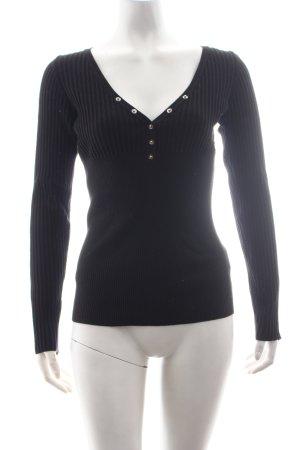 Miss Sixty V-Ausschnitt-Pullover schwarz schlichter Stil