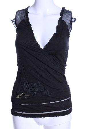 Miss Sixty V-Ausschnitt-Shirt schwarz Casual-Look