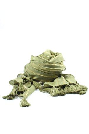 Miss Terre Sciarpa con frange verde-oro motivo a righe stile casual