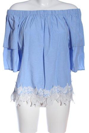 Miss Valley Top épaules dénudées bleu-blanc style décontracté
