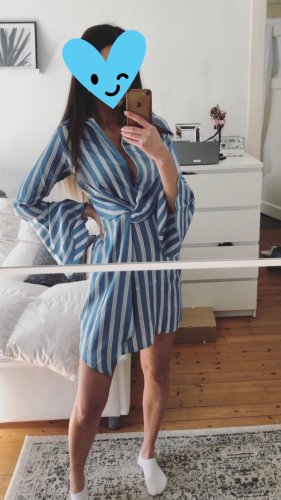 Missguided Asos Party Wickel Hemdkleid Hellblau Weiß Top Satin Wrap Knoten Dress Kleid