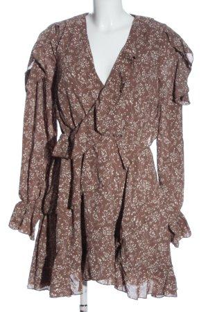 Missguided Blusenkleid braun-weiß Allover-Druck Casual-Look