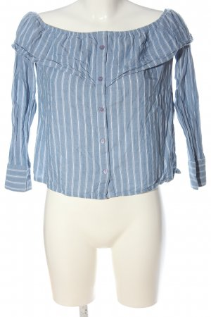 Missguided Carmen Blouse blue-white striped pattern casual look