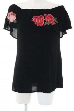 Missguided Carmen Blouse black-red flower pattern casual look