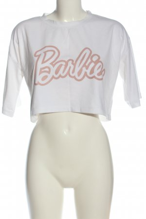 Missguided Cropped Shirt white-pink printed lettering casual look