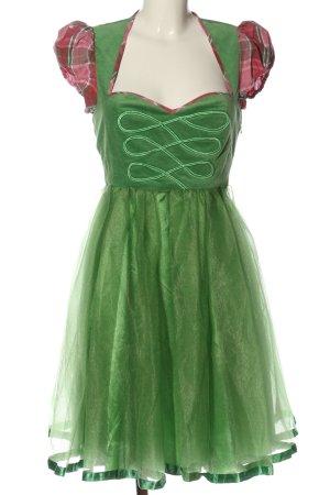 Blutsgeschwister Dirndl groen-roze geruite print klassieke stijl