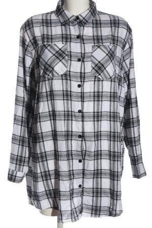 Missguided Hemdblusenkleid weiß-schwarz Allover-Druck Casual-Look