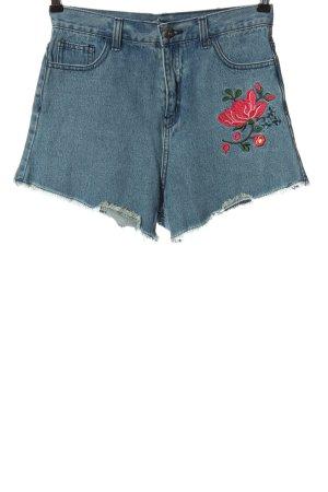 Missguided Jeansowe szorty niebieski Wzór w kwiaty W stylu casual