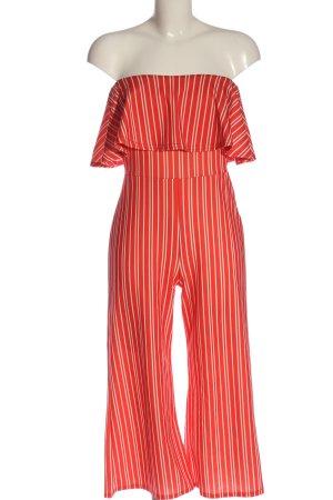 Missguided Jumpsuit rot-weiß Streifenmuster Elegant