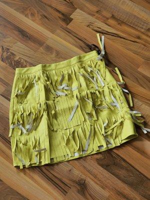 Missguided Falda de cuero de imitación amarillo