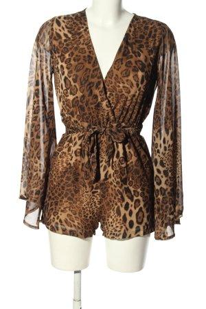 Missguided Kurzer Jumpsuit marrone stampa integrale elegante