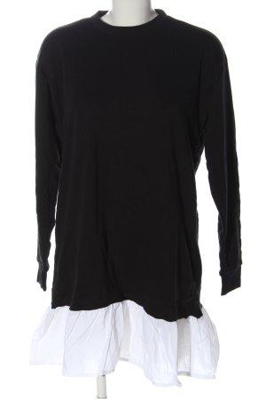 Missguided Langarmkleid schwarz-weiß Casual-Look