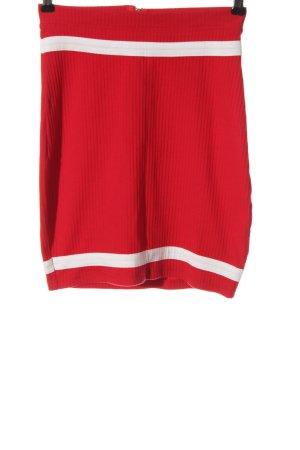 Missguided Minirock rot-weiß Streifenmuster Casual-Look