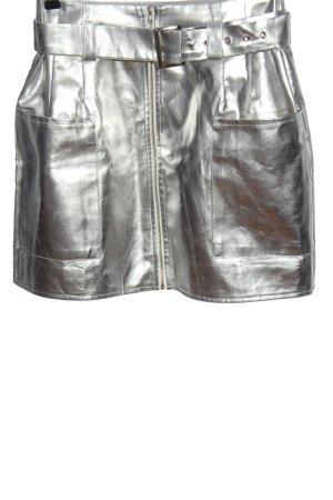 Missguided Mini rok zilver wetlook