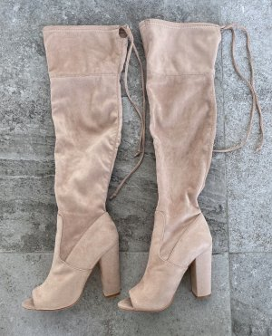 Missguided - Nude Peep Toe Knee High Boots (ungetragen)