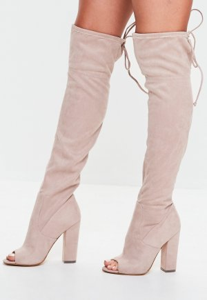 Missguided - Nude Peep Toe Knee High Boots (ungetragen)