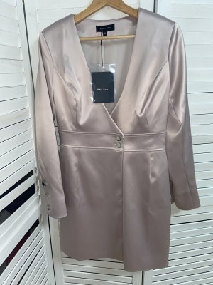 Missguided PEACE + LOVE Satin Tailed Wrap Dress Kleid Rosa Gr. 38