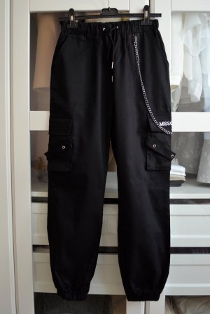 Missguided Pantalone cargo nero Cotone