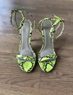 Missguided Sandaletten Gr. 37 Neon Gelb Leo High Heels