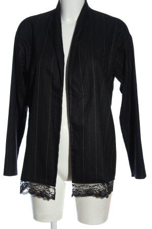 Missguided Gebreide blazer zwart-lichtgrijs gestreept patroon casual uitstraling
