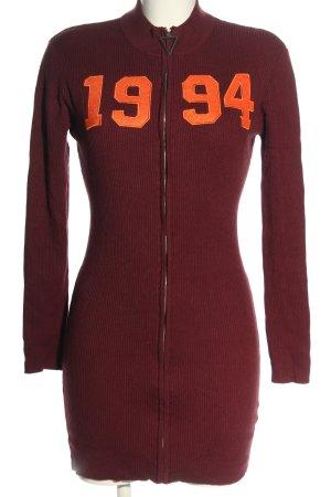 Missguided Robe en maille tricotées rouge-orange clair lettrage imprimé