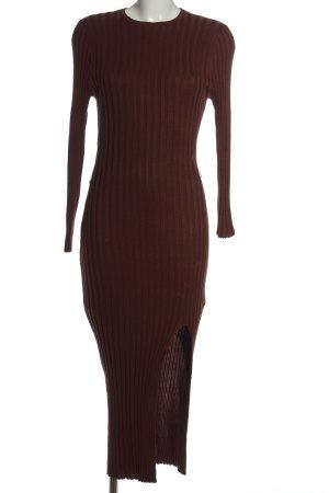 Missguided Robe en maille tricotées brun motif rayé style décontracté
