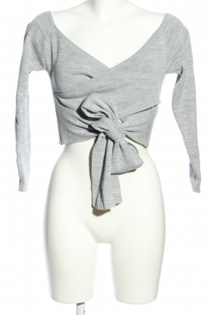 Missguided Knitted Wrap Cardigan light grey flecked extravagant style
