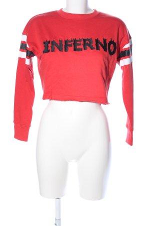 Missguided Sweatshirt rot Schriftzug gestickt Casual-Look