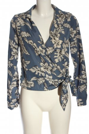 Missguided Wraparound Shirt blue-natural white allover print casual look