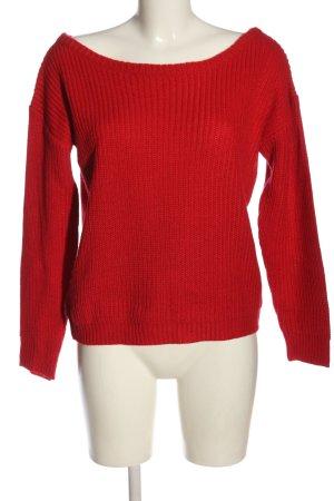 Missguided Warkoczowy sweter czerwony Warkoczowy wzór W stylu casual