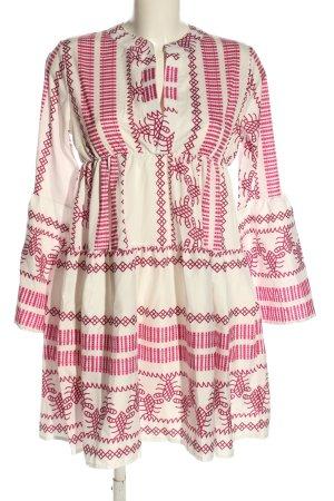 Misslook Babydollkleid weiß-pink grafisches Muster Elegant