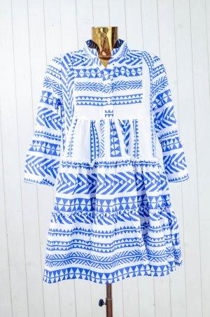 MISSLOOK Damen Kleid Hängerchen Ethno Hippie 3/4-Arm Blau Rot Gr.M Neu!