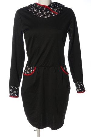 Misslook Kapuzenkleid schwarz Motivdruck Casual-Look