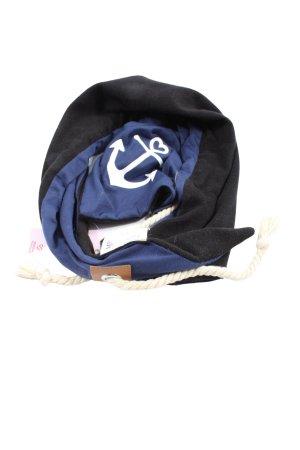 Misslook Écharpe en tricot noir-bleu imprimé avec thème style décontracté