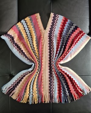 Missoni Poncho en tricot abricot