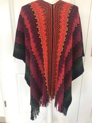 Missoni Poncho Wolle Umhang Fransen Bunt schwarz orange rot Muster