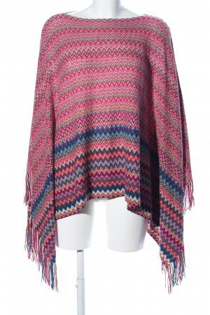 Missoni Strickponcho pink-blau grafisches Muster Casual-Look