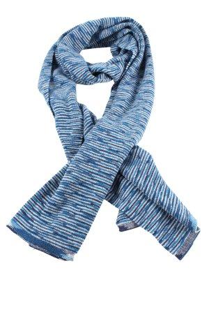 Missoni Bufanda de punto azul-blanco estampado a rayas look casual