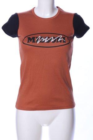 Missoni T-Shirt braun-schwarz Schriftzug gedruckt Casual-Look