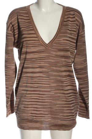 Missoni Jersey con cuello de pico marrón-crema estampado gráfico look casual