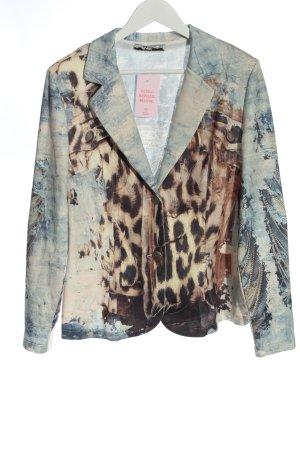 MIssy Blazer en jersey bleu motif léopard élégant