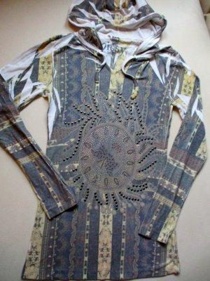 Missy®  Langarm Kapuzen Shirt mit Statementdruck aus Strass und Nieten