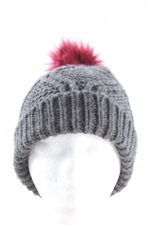 mister*lady Bobble Hat light grey-pink cable stitch casual look