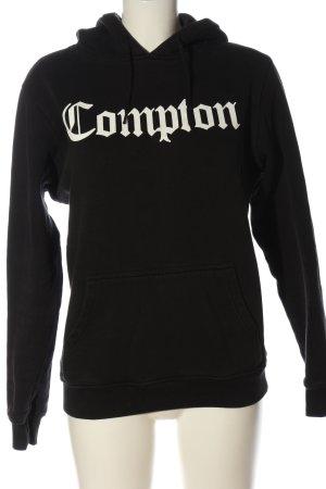 Mister Tee Sweatshirt met capuchon zwart-wit gedrukte letters casual uitstraling