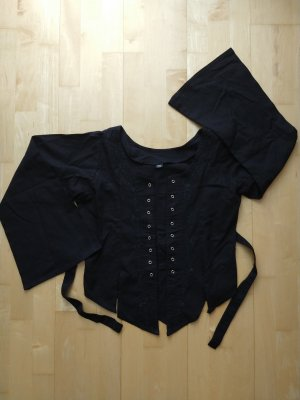 Linen Blouse black-silver-colored