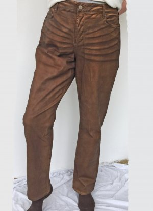 mittelbraune  / ockerfarbene Jeans im Lederlook, Größe 46