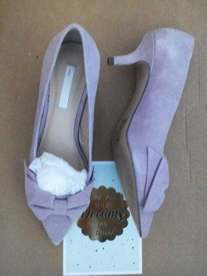 H&M Premium Zapato Tacón rosa empolvado Cuero