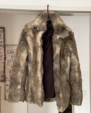 mittellange faux fur kunstpelz jacke in beige braun